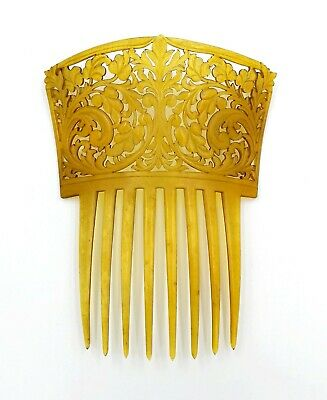 FABULOUS c1900 FLORAL HAND CARVED BUFFALO HORN HAIR COMB