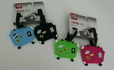 Lot of 4 Silicone  Travel Suitcase Luggage Tags Name ID Bag Label Baggage CUTE!