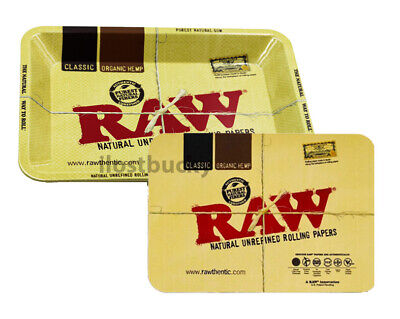 Raw Rolling Paper Cone Mini Tray 7 x 5 inch + Magnetic Lid Cover Combo Magnet