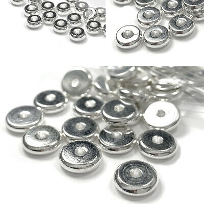 50 Silver Flat Spacer Heishi Rondelle Disc Beads Plated over Brass Metal