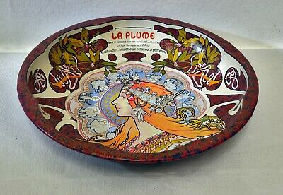 Wonderful Art Nouveau Styled Tin Bowl / Dish with Lady by Armstrong & Claydon