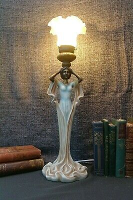 Vintage Art Deco Style Lady Sculpture Lamp Frill Glass Shade 70s MCM Kitsch Chic