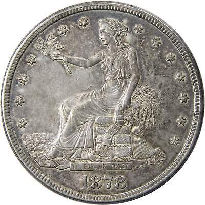 1878 S $1 Trade Silver Dollar Coin AU About Uncirculated