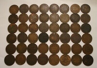 (48) Large One Cent Coins of Canada 1859 to 1920