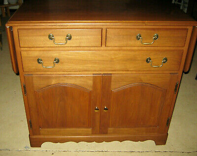 Vintage Amana Furniture Rolling Drop Leaf Server Buffet Solid Walnut