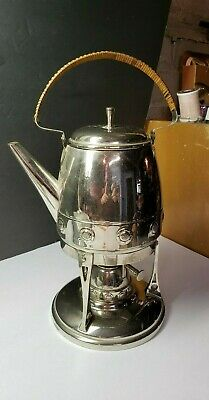Super Vintage Arts And Crafts Metal Teapot With Warmer Base