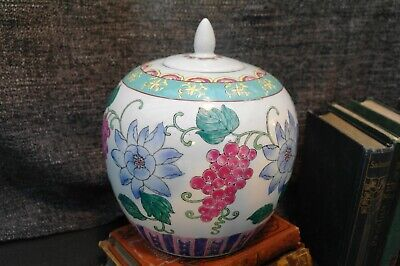 Antique Early 20thC. Chinese Export Large Ceramic Lidded Urn Ginger Pot c.1930's