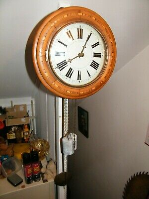 Chain Driven Marquetry Round Postman Striking Post Mans Clock Gwo