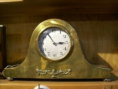 Antique Brass 8 Day French Mantel Clock With Nice Escapement Movement.