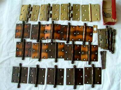 Lot 19 Antique/Vtg Cast Iron Art Deco & Medalist Brass Door Hinges 3.5""