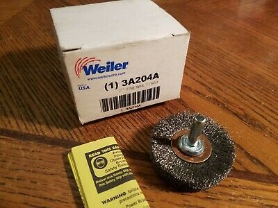 """Weiler,  Crimped Wire Wheel Cup Brush, 2"""" dia. 1/4"""" shank  New"""