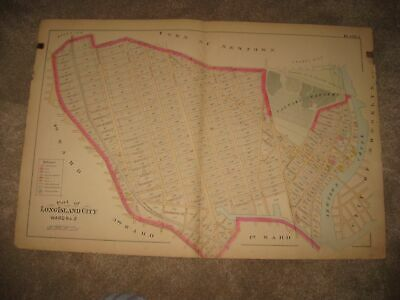Huge Vintage Antique 1891 Long Island City Ward 2 New York Handcolored Map Fine