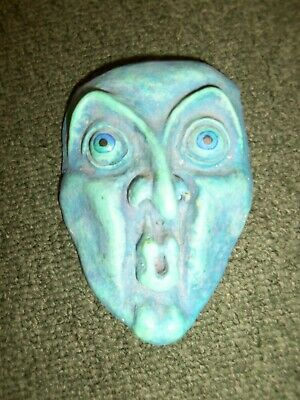 Vintage signed L Cole blue face man plaster pottery sculpture wall hanging (OOH)