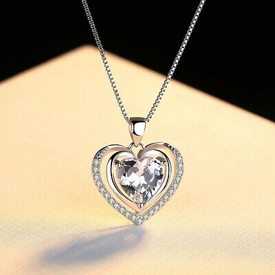 925 Sterling Silver Double Heart Stone Chain Pendant Necklace Womens Jewellery