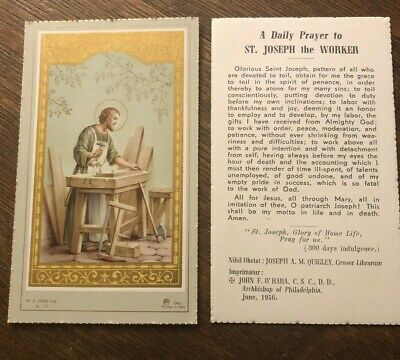 Vintage Catholic Holy Card - Daily Prayer to St. Joseph the Worker - Gilded