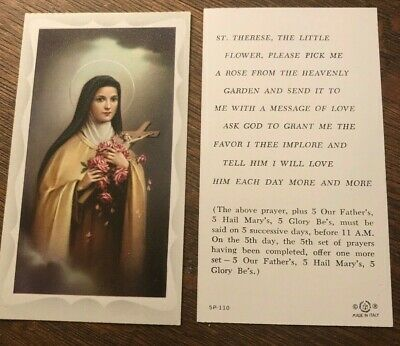 Catholic Holy Card - Powerful Prayer to St. Therese of Lisieux the Little Flower
