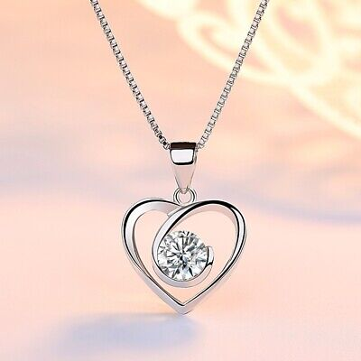 Swirl Heart Stone Pendant Chain Necklace 925 Sterling Silver Womens Jewellery UK