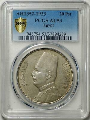 Egypt 20 Piastres AH1352 (1933) graded by NGC AU-53.