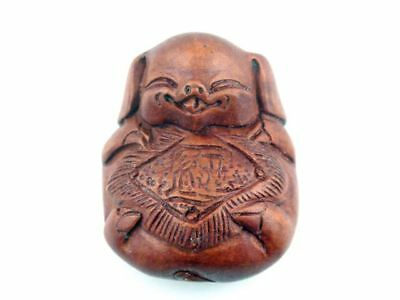 Boxwood Hand Carved Japanese Netsuke Sculpture Rich Smiling Piggy #05021802