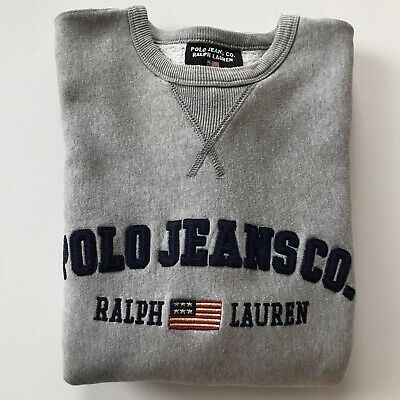 VTG Polo Ralph Lauren Polo Jeans Co Spell Out Sweater Gray FLAG vintage Pullover