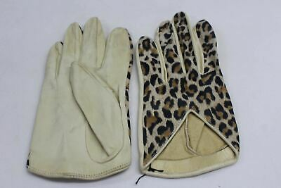 ASPINAL OF LONDON Ladies Short Leather Leopard Print Evening Gloves 7.5 NEW