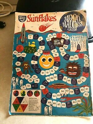 White Wings Sunflakes Moon Madness Game Cereal Box 1960's-Australian-Original.