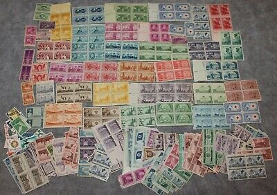Vintage Lot Of 400+ Us 3 Cent Stamps From 1940-50'S Some Blocks All Unposted