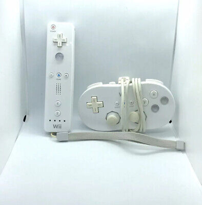 Official Nintendo Wii Wiimote Remote White Controller Plus Classic Controller
