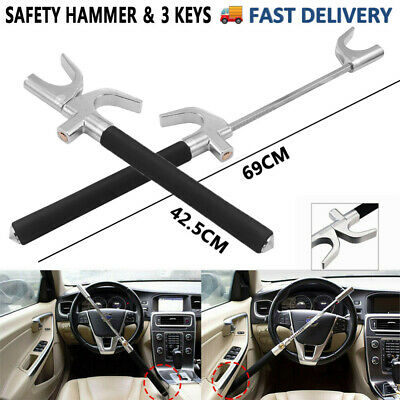 Universal Heavy Black Car Steering Wheel Lock Anti-Theft Clamp Safety Lock 3-Key