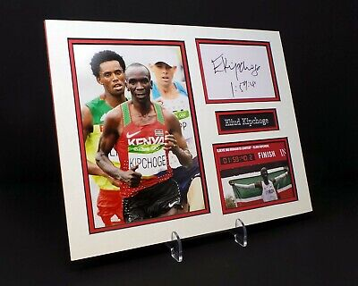 Eluid KIPCHOGE Signed Mounted Photo Display AFTAL World Record Marathon Runner