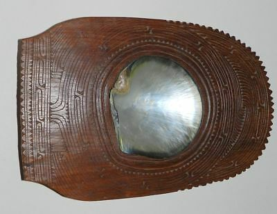 Tribal Wooden Bowl - Intricately Carved -  Inlaid Shell