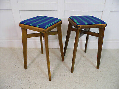 Vintage Retro Kitchen beech wood restored Formica table stools new seats 50s 60s