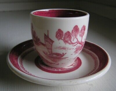 Syracuse OPCO China Old Ivory Oriental Boat Scene Demitasse Cup & Saucer