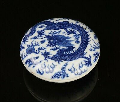 Antique Chinese Blue and White Porcelain Dragon Seal Ink Box 19th C GUANGXU