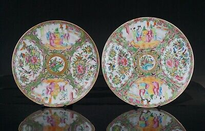 Two Antique Chinese Canton Famille Rose Porcelain Dish Plate 19th C QING **A