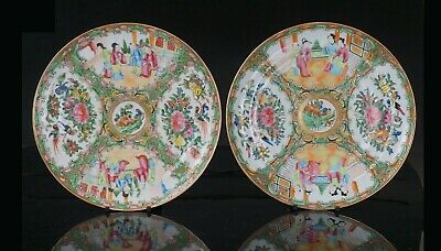 Large Pair Antique Chinese Canton Famille Rose Porcelain Plate 19th C QING