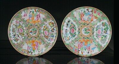 Pair Antique Chinese Canton Famille Rose Porcelain Plate 19th C QING # A
