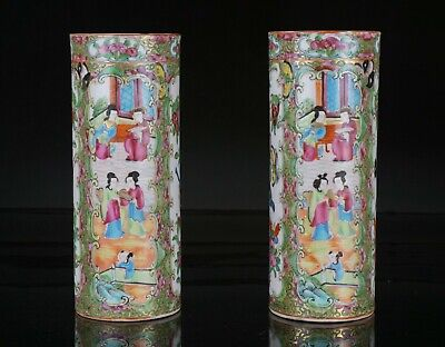 Pair Antique Chinese Canton Famille Rose Porcelain Sleeve Vase 19th C QING