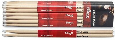 One Pair Of New Stagg Maple 7A Nylon Tip Drum Sticks - SM7AN