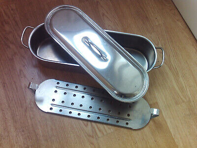 french silver metal 3 piece fish pan