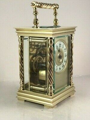 Antique Carriage Clock With Masked Dial. Key. Cleaned & Serviced Jan. 2020
