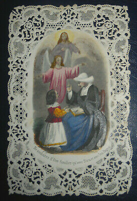 Nicely Illustrated Antique Holy Card Guardian Angel Jesus Paper Lace Dentelle