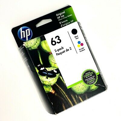 Original HP 63 Combo 2 Pack Ink Cartridges Black and Color - New Genuine