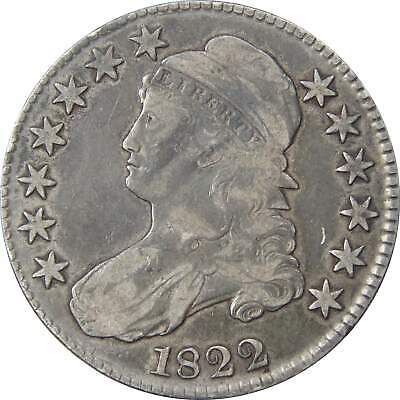 1822 50c Capped Bust Silver Half Dollar Coin F Fine