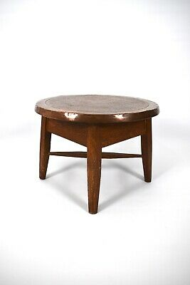 Antique Arts Crafts Oak & Copper Top Coffee Table Side Table