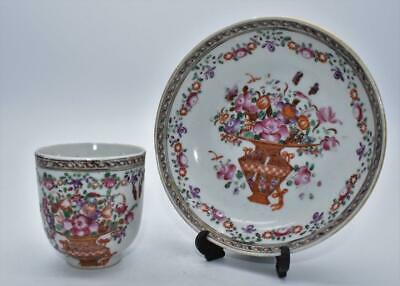 Fine Antique Chinese 18thC Qianlong Cup and Saucer - Famille Rose