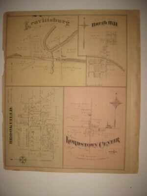 Antique 1874 Lordstown Leavittsburg Orangeville Trumbull County Ohio Map Rare Nr