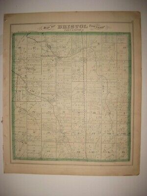 Antique 1874 Bristol Township Trumbull County Ohio Handcolored Map Bristolville