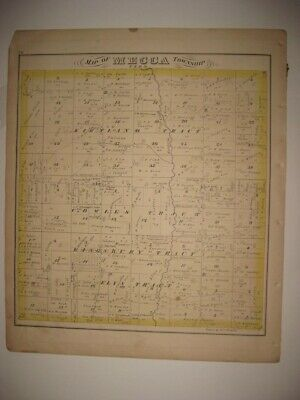 Antique 1874 Mecca Kinsman Township Trumbull County Ohio Handcolored Map Superb