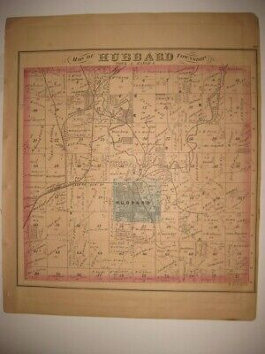 Antique 1874 Hubbard Township Trumbull County Ohio Handcolored Map Detailed Fine